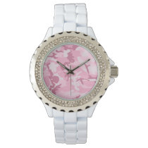 Vintage Cute Pink Camouflage Pattern Wristwatch