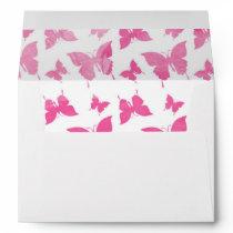 Vintage cute pink watercolor butterflies pattern. envelope