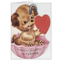 Vintage Cute Pup Valentine's Day Card for Teacher