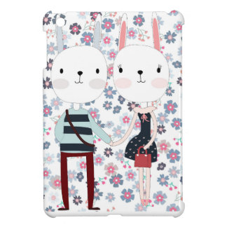 Vintage cute rabbit bunny couple in flower garden cover for the iPad mini