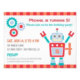 Vintage Cute Robot Toy Birthday Party Invitations