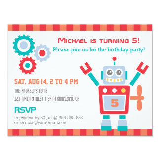 "Vintage Cute Robot Toy Birthday Party Invitations 4.25"" X 5.5"" Invitation Card"