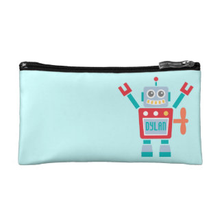 Vintage Cute Robot Toy For Kids Makeup Bags
