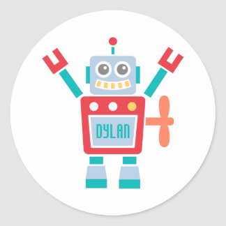 Vintage Cute Robot Toy For Kids Classic Round Sticker