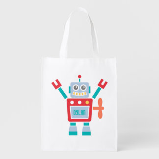 Vintage Cute Robot Toy For Kids Grocery Bag