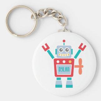 Vintage Cute Robot Toy For Kids Basic Round Button Keychain