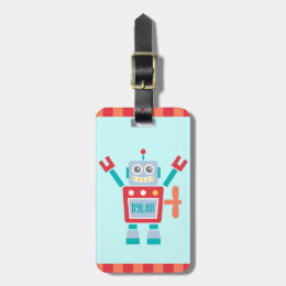 Vintage Cute Robot Toy For Kids Luggage Tag