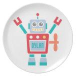 Vintage Cute Robot Toy For Kids Melamine Plate