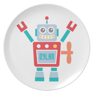 Vintage Cute Robot Toy For Kids Melamine Plate