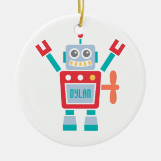 Vintage Cute Robot Toy For Kids Room Double-Sided Ceramic Round Christmas Ornament