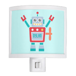 Vintage Cute Robot Toy For Kids Room Night Light
