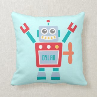 Vintage Cute Robot Toy For Kids Room Throw Pillow