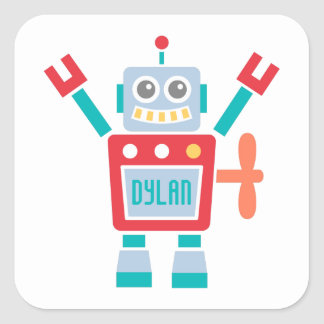 Vintage Cute Robot Toy For Kids Square Sticker