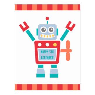 Vintage Cute Robot Toy Happy Birthday Postcard