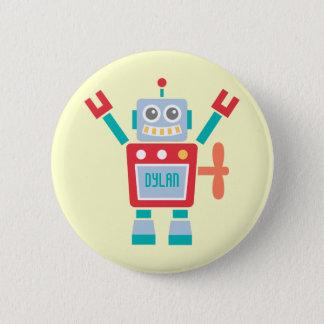 Vintage Cute Robot Toy Kids Name Button
