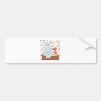 Vintage cute spring summer fox wolf and teddy bear bumper sticker