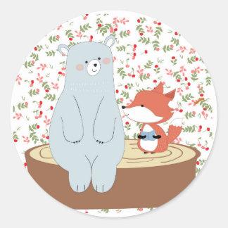 Vintage cute spring summer fox wolf and teddy bear classic round sticker