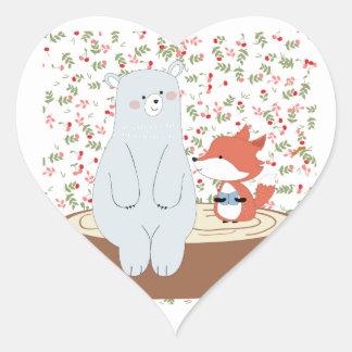 Vintage cute spring summer fox wolf and teddy bear heart sticker
