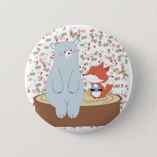 Vintage cute spring summer fox wolf and teddy bear pinback button