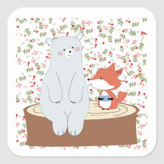 Vintage cute spring summer fox wolf and teddy bear square sticker