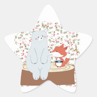 Vintage cute spring summer fox wolf and teddy bear star sticker