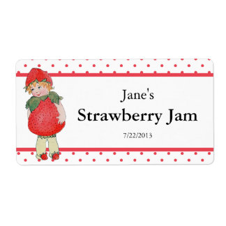 Vintage Cute Strawberry Jam Label