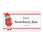 Vintage Cute Strawberry Jam Shipping Label