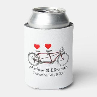 Vintage Cute Tandem Bicycle Custom Wedding Can Cooler