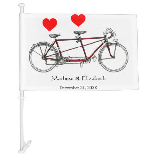 Vintage Cute Tandem Bicycle Custom Wedding Car Flag