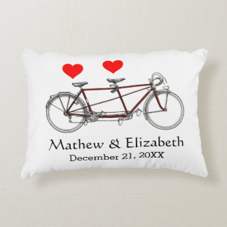 Vintage Cute Tandem Bicycle Custom Wedding Decorative Pillow