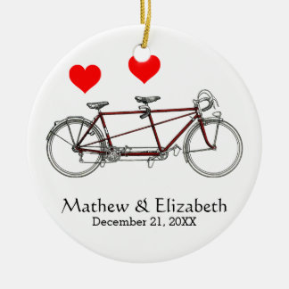 Vintage Cute Tandem Bicycle Custom Wedding Double-Sided Ceramic Round Christmas Ornament