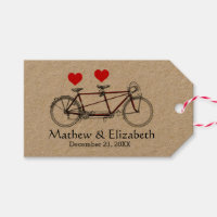 Vintage Cute Tandem Bicycle Custom Wedding Gift Tags