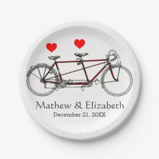 Vintage Cute Tandem Bicycle Custom Wedding Paper Plate