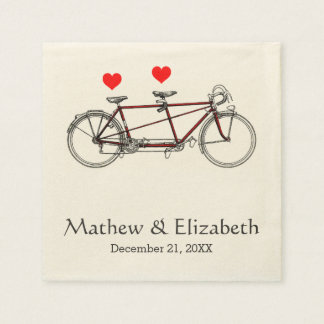 Vintage Cute Tandem Bicycle Custom Wedding Standard Cocktail Napkin