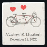 "Vintage Cute Tandem Bicycle Custom Wedding Stone Coaster<br><div class=""desc"">Vintage Cute Tandem Bicycle Custom Wedding Stone Coaster</div>"
