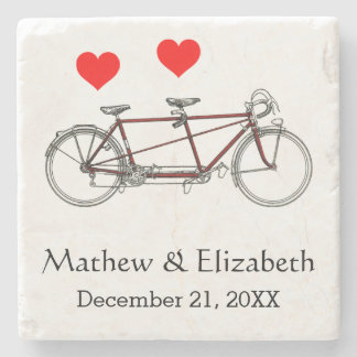 Vintage Cute Tandem Bicycle Custom Wedding Stone Coaster