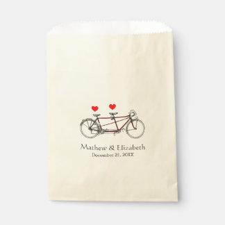 Vintage Cute Tandem Bicycle Custom Wedding Favor Bags