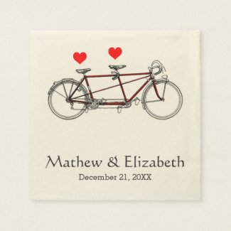 Vintage Cute Tandem Bicycle Custom Wedding Disposable Napkin