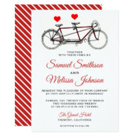 Vintage Cute Tandem Bicycle Wedding Invitation