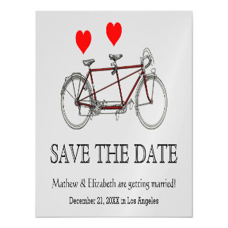 Vintage Cute Tandem Bicycle Wedding Save The Date Magnetic Card