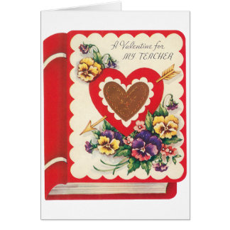 Vintage Cute Teacher Valentine, Hearts and Flowers Card