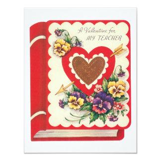 Vintage Cute Teacher Valentine, Hearts and Flowers Card