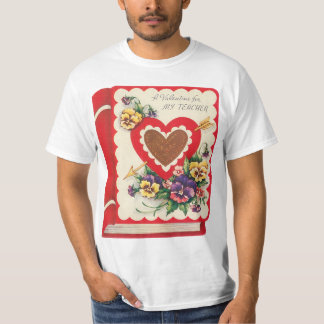 Vintage Cute Teacher Valentine, Hearts and Flowers T-Shirt