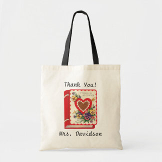 Vintage Cute Teacher Valentine, Hearts and Flowers Tote Bag