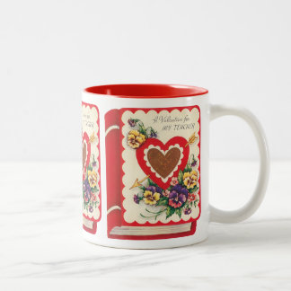 Vintage Cute Teacher Valentine, Hearts and Flowers Two-Tone Coffee Mug