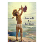 Vintage Cute Toddler Girl at Beach Baby Shower Custom Announcements