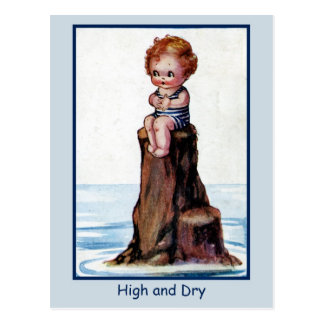 Vintage cute toddler High And Dry Postcard