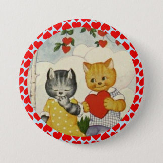 Vintage Cute Valentine Heart and Cat Couple Pinback Button