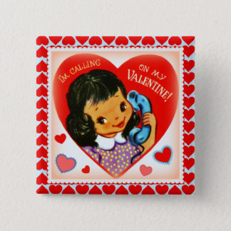 Vintage Cute Valentine Little Girl and Hearts Pinback Button