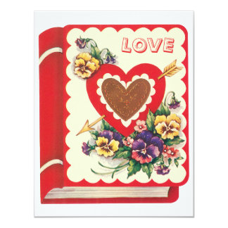 Vintage Cute Valentine Love Book Heart and Flowers Card